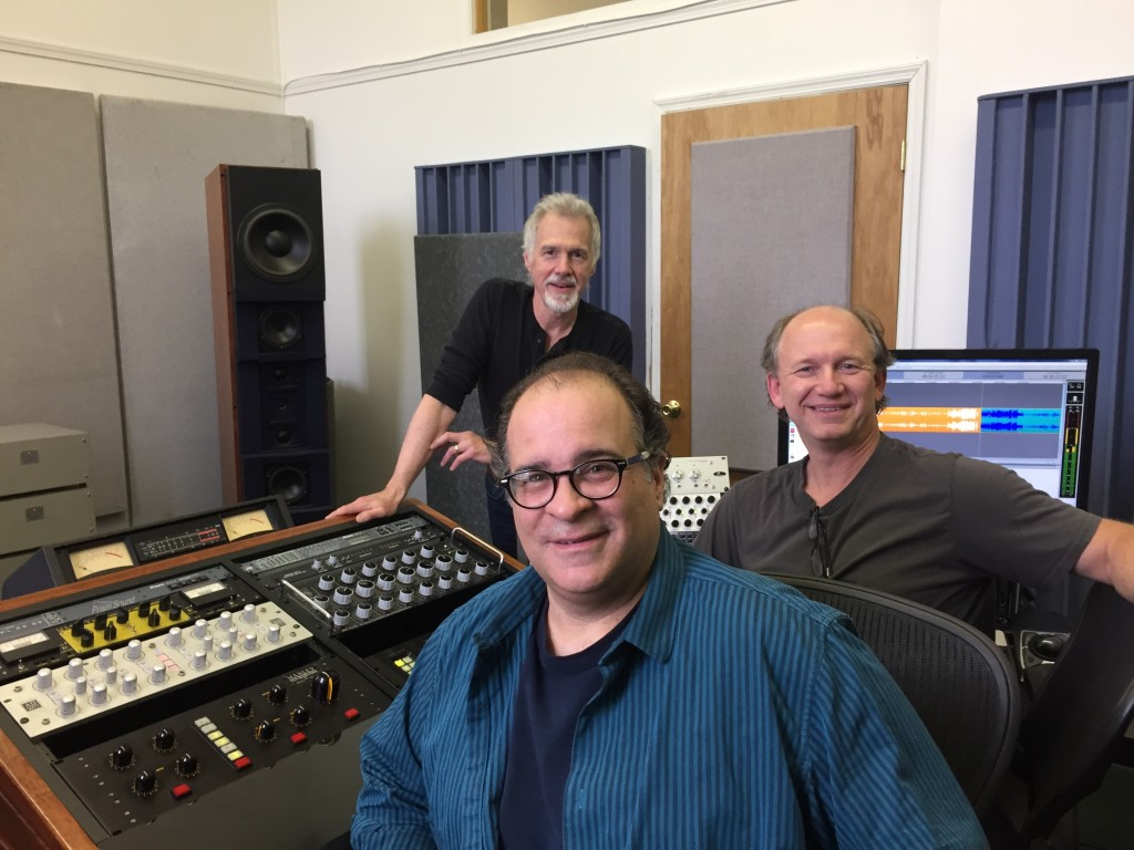 l.-r.: Paul Kozel (mixing), Joseph Bertolozzi (composer), and Scott Hull (mastering), celebrating the completion of the TOWER MUSIC album.