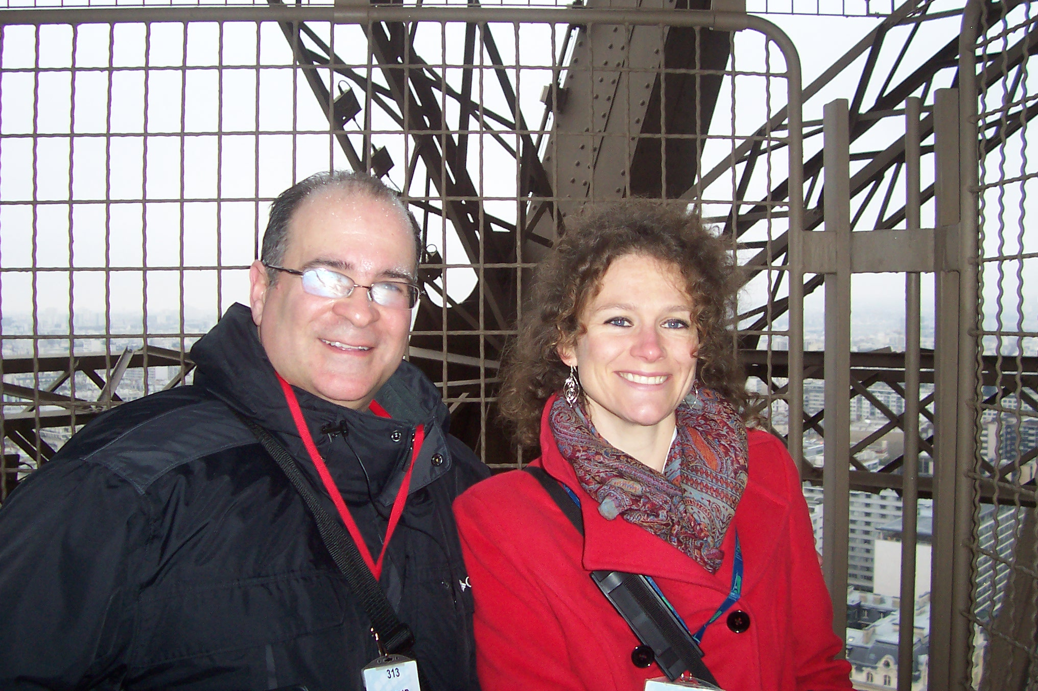 Joseph Bertolozzi & Marthe Ozbolt, Jan 8, 2013 at the summit of the Eiffel Tower