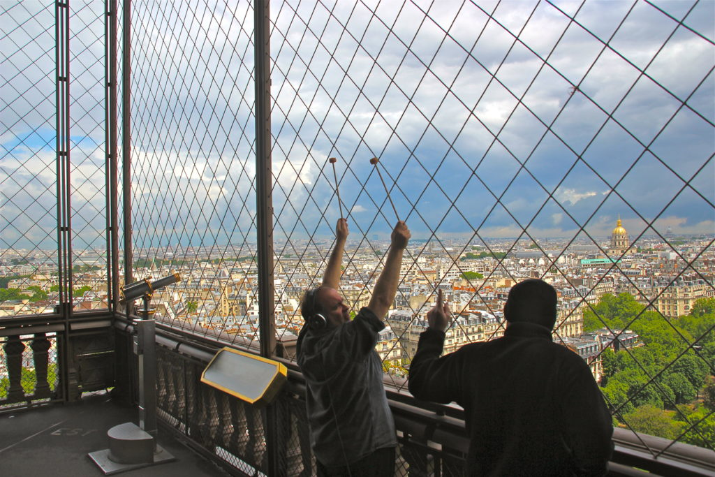 Joseph Bertolozzi and Joe Popp recording the Eiffel Tower. Image (c) 2013, by Franc Palaia