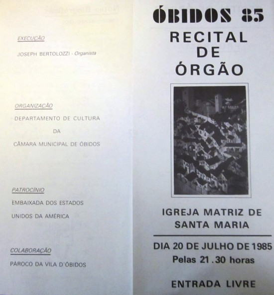 OBIDOS - CONCERT PROGRAM COVER, 1985