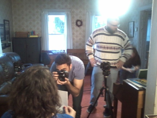 SUNY Documentary Crew setting up in the Bertolozzi house, 2015, #2