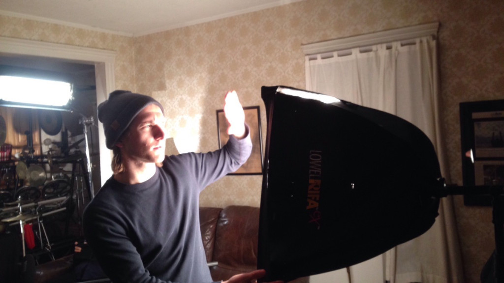 Kyle Bahl setting up for the filming of Andrew Porter's documentary on Joseph Bertolozzi.